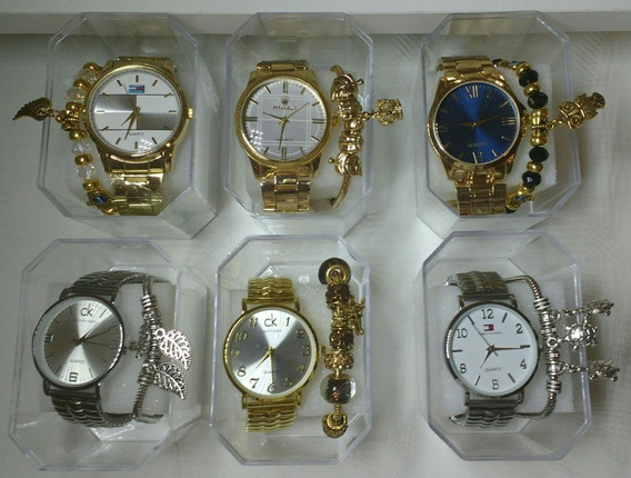 Kit C/35 Relógios Feminino Dourado+caixas+pulseira Lucre Já