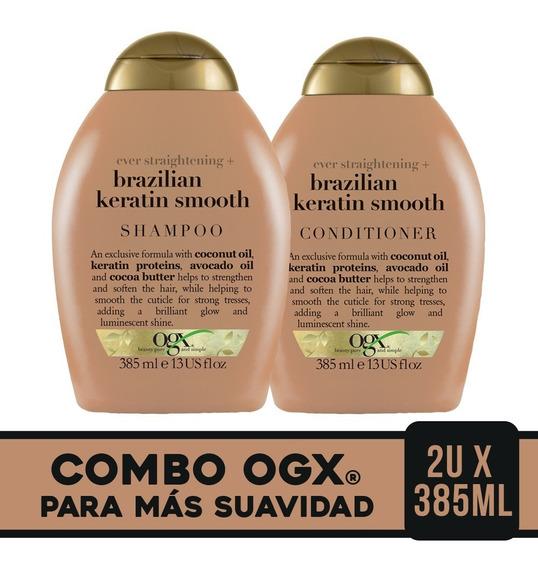 Ogx Combo Brazilian Keratin Smooth Shamp 385ml + Acond 385ml