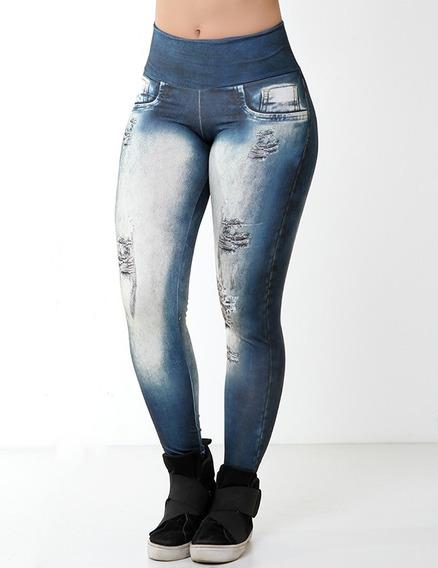 Calça Legging Fake Imita Jeans Fitness 8724