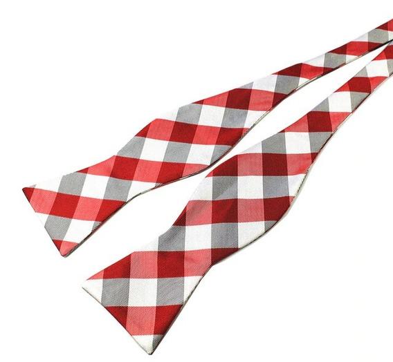 Lazo Pajarita Moño Para Atar Seda Rojo Con Plateado Adulto