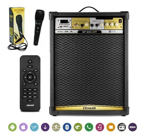 Caixa De Som Amplificada Frahm Mf600 App Bluetooth Usb Sd Fm