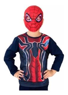 Kit Remera + Mascara Con Luz Spiderman New Toys