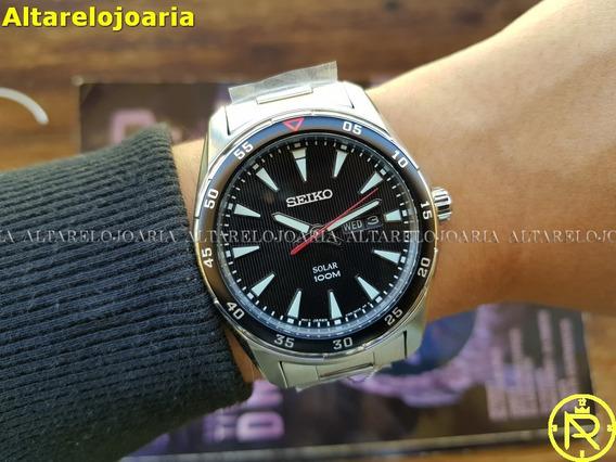 Relógio Seiko Solar Sne393p1p1xs Aço Calendário Pt Ing