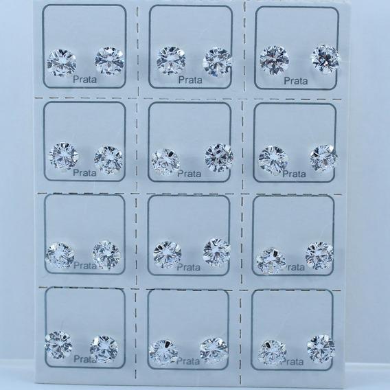 Kit 12 Pares De Brincos Em Prata Com Zircônias Brancas 6mm