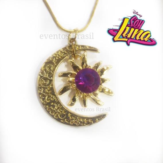 Colar Sou Luna! Dourado Com Ponto De Luz Rosa