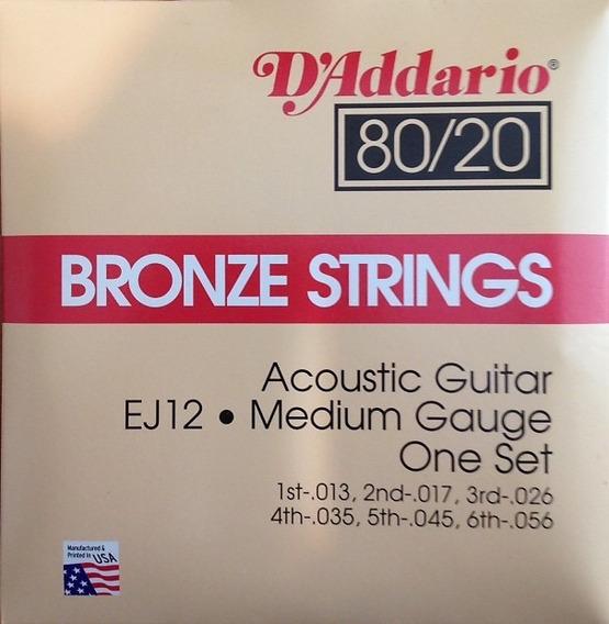 Cuerdas Daddario Para Guitarra Acústica 85 /15 Medium Ej12
