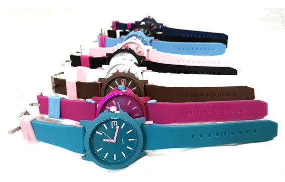 Relógio Feminino Masculino Varias Cores Kit 10 Pçs Promoção