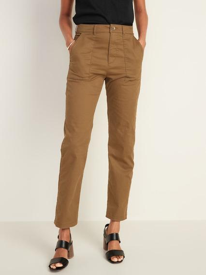 Pantalón Dama Casual Cintura Alta Bolsillos Mujer Old Navy