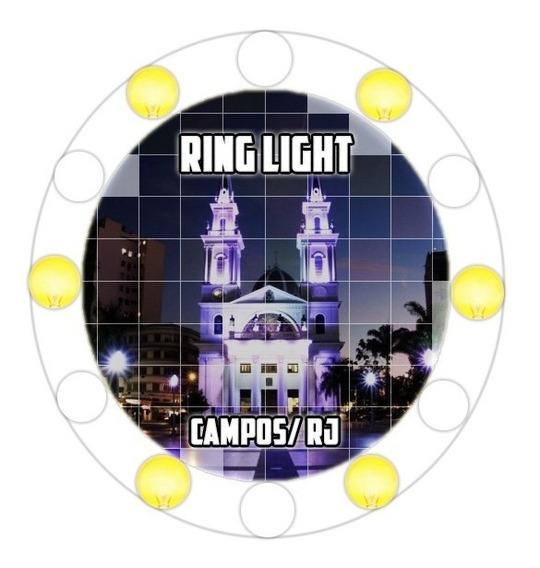 Ring Light 6 Bocais 30cm + Base + Sup. Celular