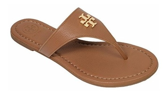 Tory Burch Laura Flip Flop Flats Thong Tumbled Royal Tan