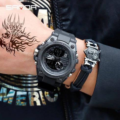 Relógio Marca Sanda Preto À Prova Cor Preto Masculino Adulto