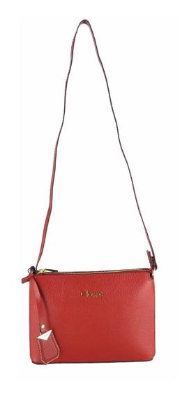 Bolsa Tiracolo Feminina Couro Vermelha Classe Couro 100676