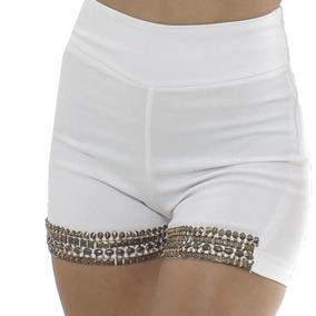 Shorts Rosa Fina Bordado Cintura Alta