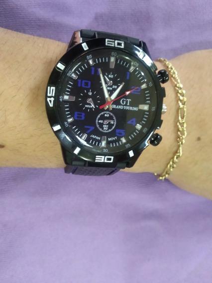 Relógio Masculino De Pulso Gt Grand Touring Preto E Azul