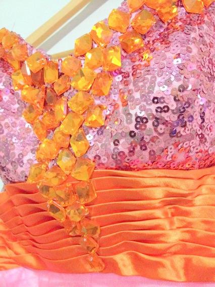 Vestido De Noche Nuevo Importado Corset Bordado: Liquido!