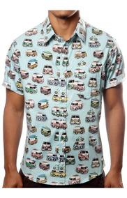 Camisa Causal Estampada Kombi Vintage Havaiana Perua Floral