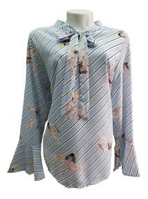 Camisa Feminina Tecido Estampa Cisne Animal Manga Longa