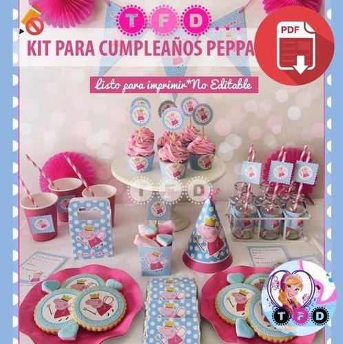 Kit Imprimible Peppa Pig Candy Bar Banderin Invitacion