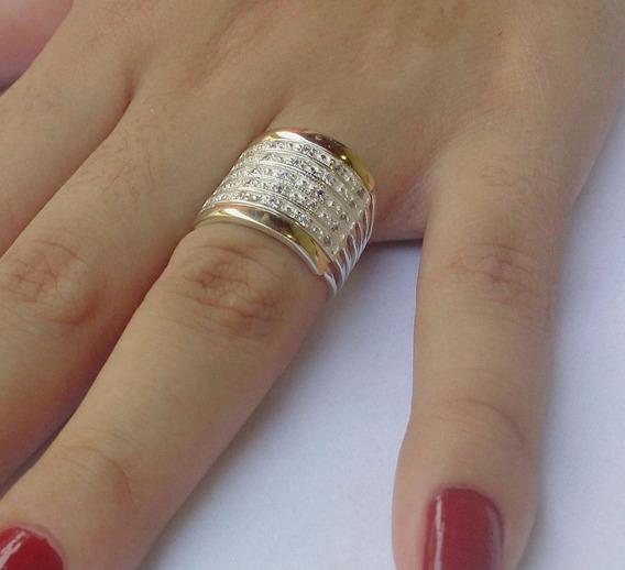 Lindo Anel 7 Elos Prata 950 2 Filetes Ouro Pedras Zircônias