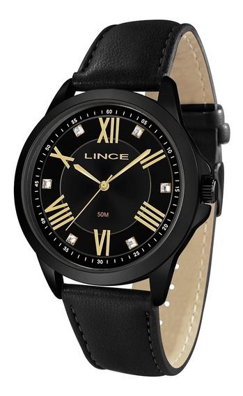 Relógio Lince Feminino Lrcj084l P3px Preto Couro Preto