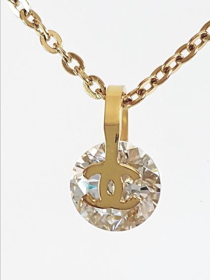 Collar Dama Chn Chapa De Oro 18k Circonio + Envío Gratis