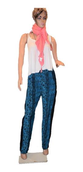 47 Street Pantalon Azul Y Negro Estampado Promo