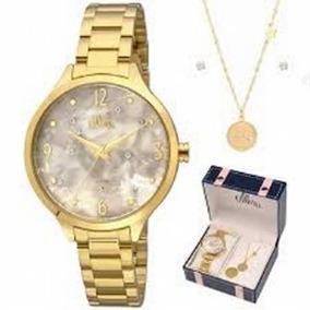 Kit Relógio Allora Analógico Feminino Prateado Al2036fif/k3g