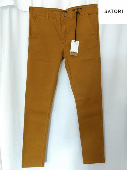 Pantalon Gabardina Elastiza Hombre Recto Marron,bordo,beige