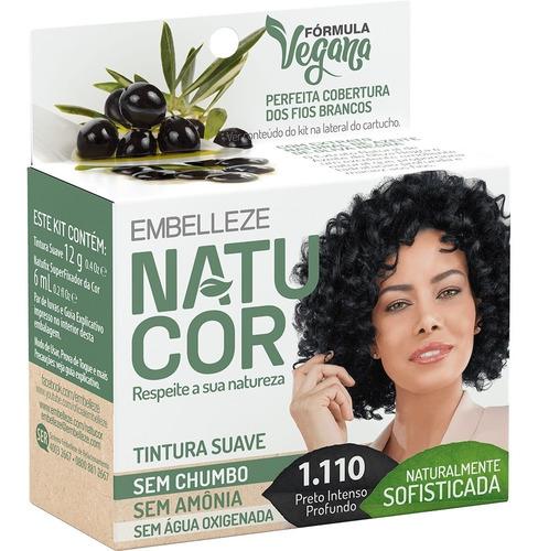 Tinta De Cabelo Natucor Naturalmente Sofisticada Azeite De Oliva Negra Preto Intenso Profundo 1.110 Kit Economico