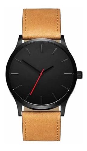 Reloj De Cuero Marrón Minimalista Clasico