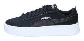 Zapatillas Puma Mujer Urbana Smash Platform Cv Negro-blanco-