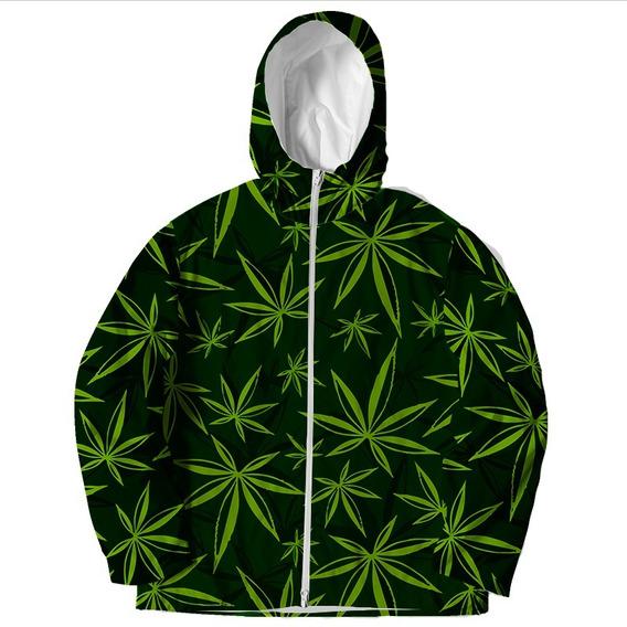 Jaqueta Corta Vento Touca Zíper Erva Ganja Marijuana Weed