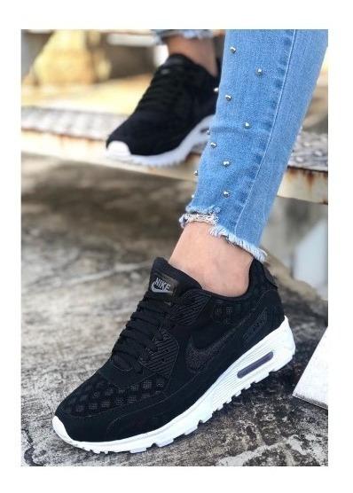 Zapatos Tenis Nike Airmax Colmena Negro Dama + Envio Gratis