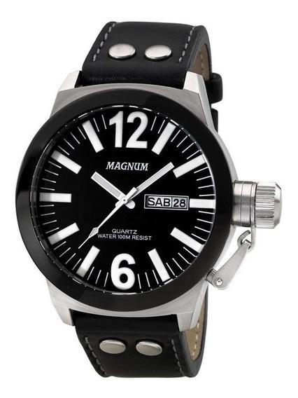 Relógio Magnum Prata Original Preto Masculino Ma31533t Top