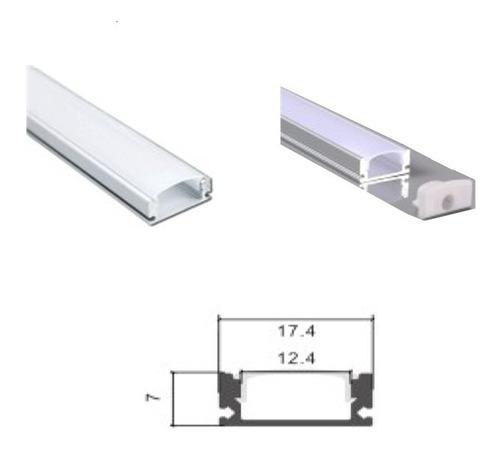 Perfil De Aluminio Para Led 1mt - Tipo U - Con Tapa