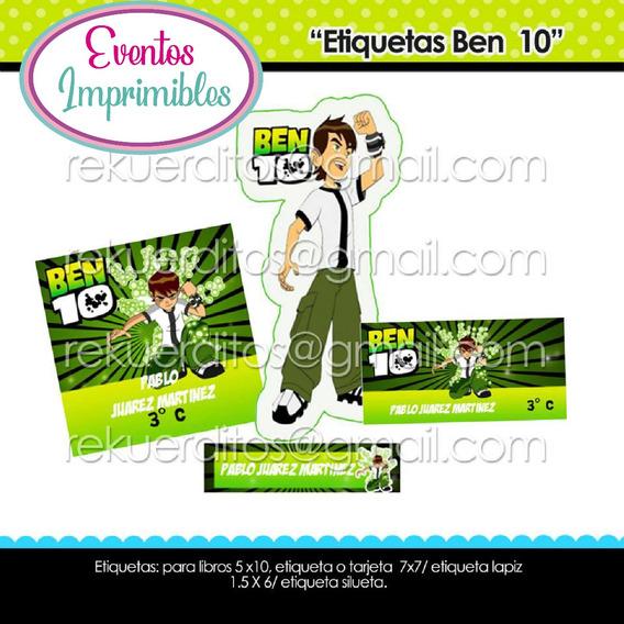 Kit Imprimible Etiquetas Escolares Ben 10