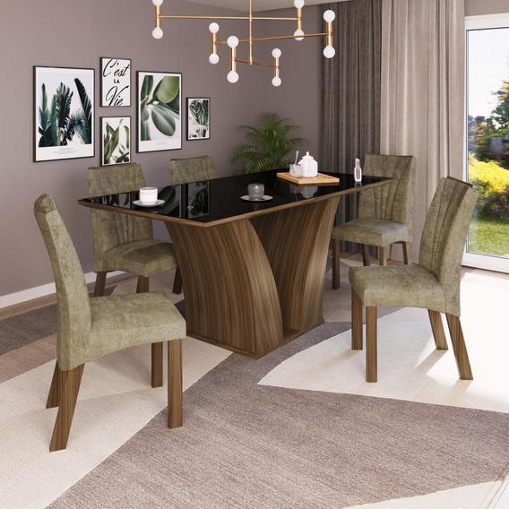 Mesa De Jantar Tampo Mdf/vidro 6 Cadeiras Sofia Mocca Dd