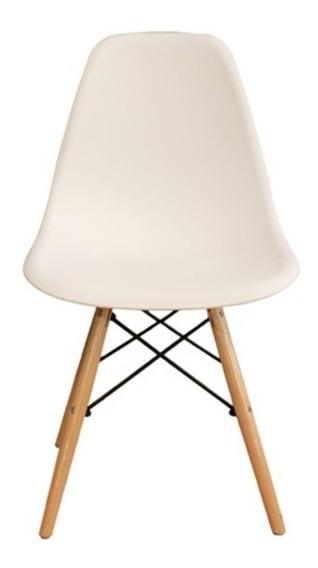 Cadeira Charles Eames Branca Com Pés De Madeira 82x47cm