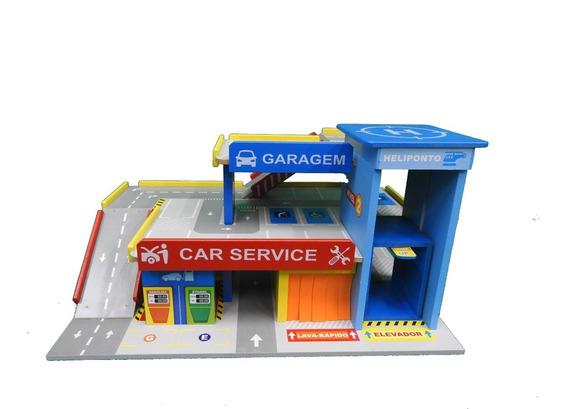 Brinquedo Postinho Garagem Car Service Junges C/ 5 Carrinhos