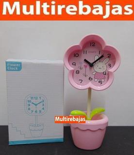 Reloj De Mesa Flor Con Masetero Cuenta Con Despertador