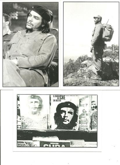 3 Postales De Cuba El Che Y F. Castro