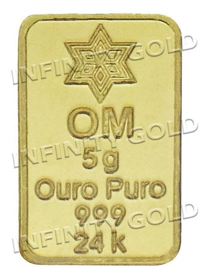 Barra De Ouro 24k 999 5 Gramas, Frete Grátis Com Certificado