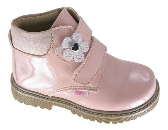 Botas Para Niña Con Velcro Ca5901 - Rosa Charol