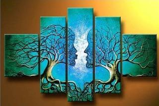 Wieco Art Árbol Azul Cuerpo Humano 100% Pintado A Mano Arte