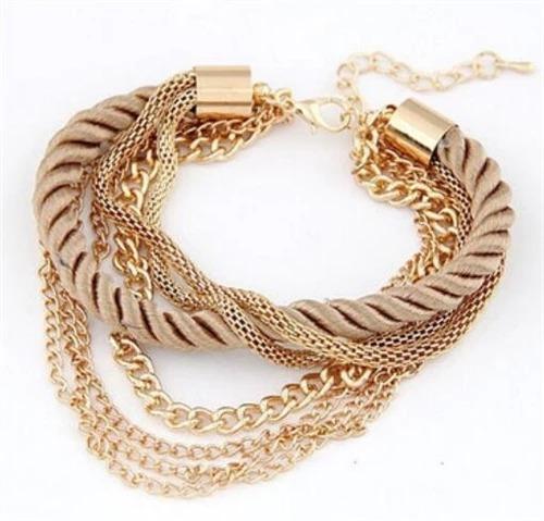 Pulseira Bracelete Feminino Dourada Corda Fecho Linda 21 Cm