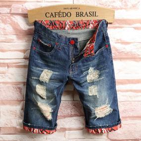 Bermuda Masculino Jeans Detalhes Rasgado Lindas D1109