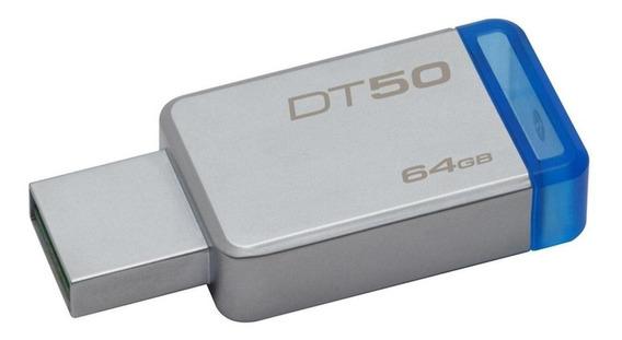 Pendrive Kingston DataTraveler 50 64GB prateado/azul