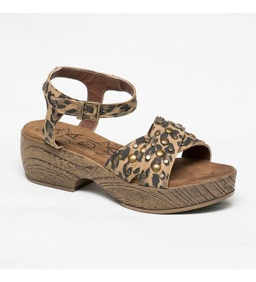 Sandalias Mujer Zapatos Animal Print Gibraltar Dama Tachas