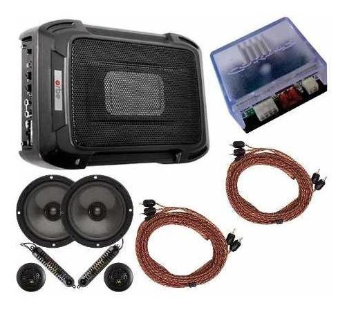 Caixa Slim + Kit 2 Vias 6 + Módulo Amplificador + Cabos Rca