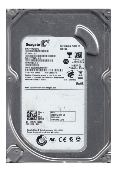 Hard Disk 500gb Sata Seagate Barracuda 7200rpm Defeito